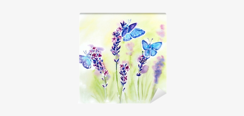 Painted Watercolor With Summer Lavender Flowers And - Watercolor Flowers And Butterflies, transparent png #129026