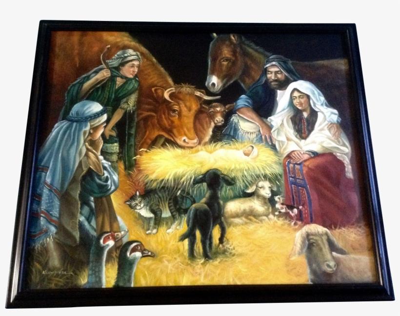 Nativity Scene Painting Elegant Kumjha Painting Jesus - Oil Painting Christmas Of Scene, transparent png #129861
