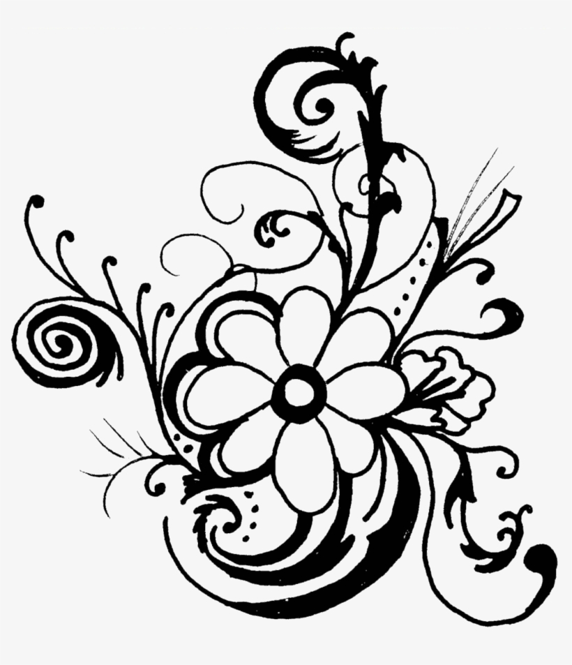 Black And White Clip Art Flowers Pictures Image - Flower Art Black And White, transparent png #1210230