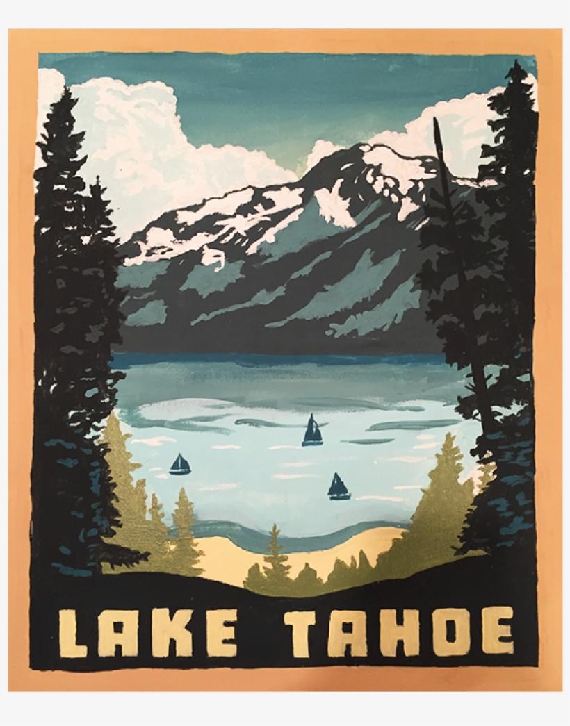 Painting-01 - Americanflat Lake Tahoe 1002 Framed Vintage Advertisement, transparent png #1216286