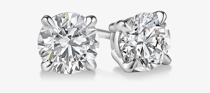Quick View - 4 Prong Diamond Stud Earrings, transparent png #1217231