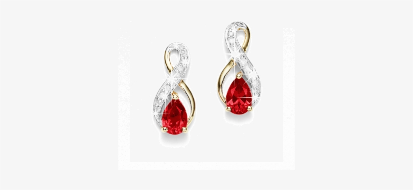 9ct Ruby & Diamond Earrings - Diamonds Earrings With Red Ruby, transparent png #1217289