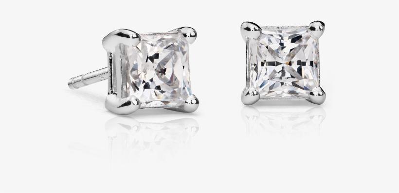 Princess Cut Diamond Studs - 1.5 Carat Earring Diamond White Gold, transparent png #1217595