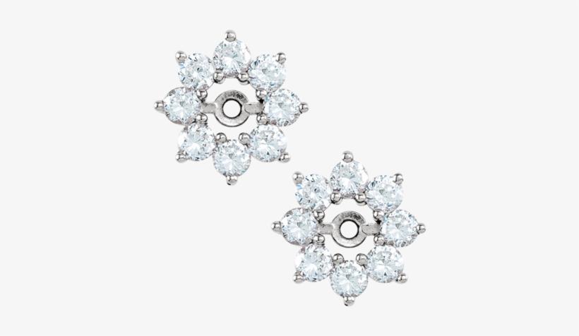 14k White 3/4 Ctw Diamond Earring Jackets - 14k White, transparent png #1217787