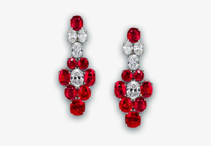 Pigeon Blood Ruby And Diamond Earrings - Long Red Diamond Earrings, transparent png #1218122