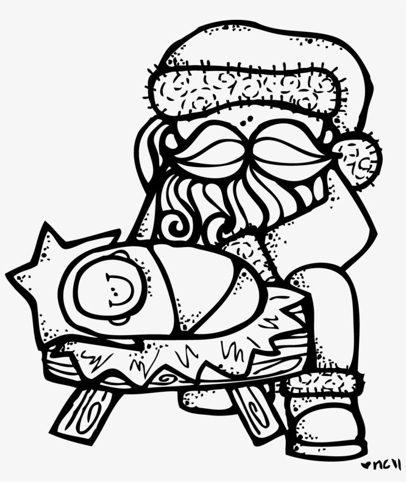 Baby Jesus Clip Art - Santa Kneeling At The Manger Coloring Page, transparent png #1221849