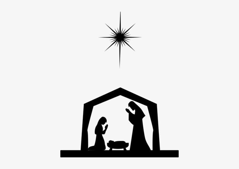 Free Baby Jesus Silhouette Clip Art Ba Jesus Silhouette - Nativity Scene Silhouette Png, transparent png #1222145