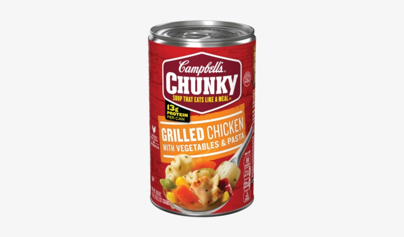 Grilled Chicken With Vegetables And Pasta Soup - Campbell's Chunky Chicken Noodle Soup, transparent png #1222586