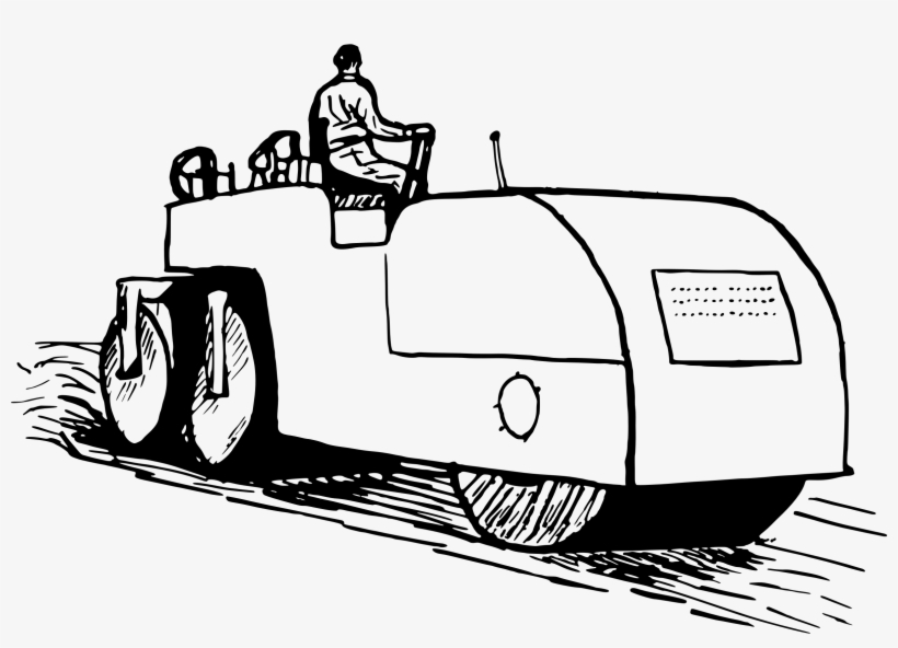 Car Road Roller Clip Art - Road Roller Clipart Black And White, transparent png #1225061