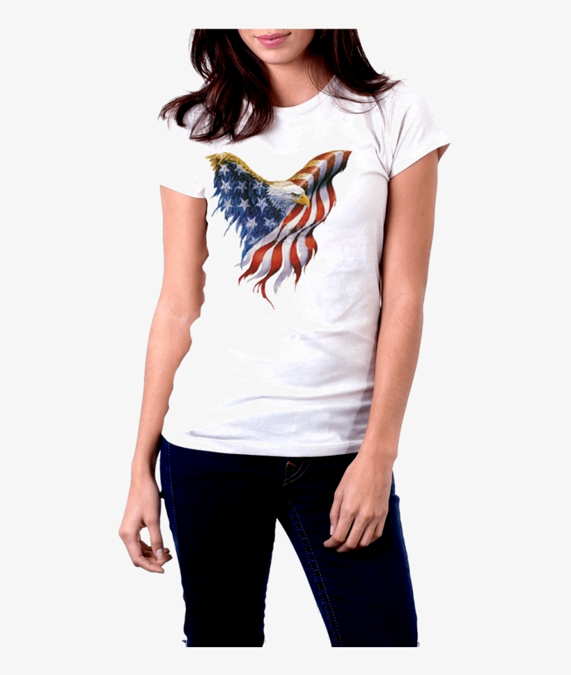 White T-shirt Front View American Flag Eagle - T Shirt White Woman Png, transparent png #1225474