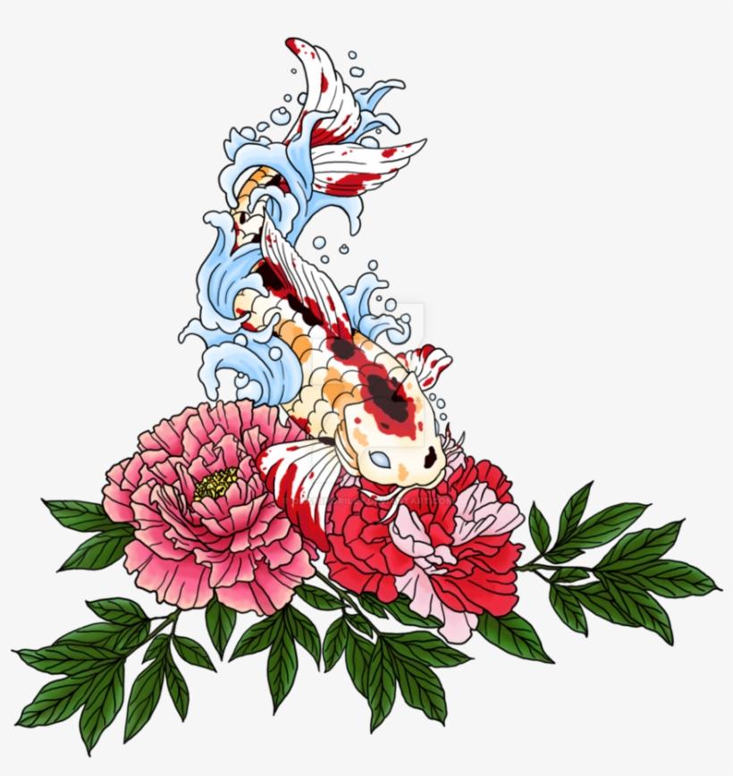 Koi Peony Tattoo - Colorful Peony Tattoo Design, transparent png #1229116