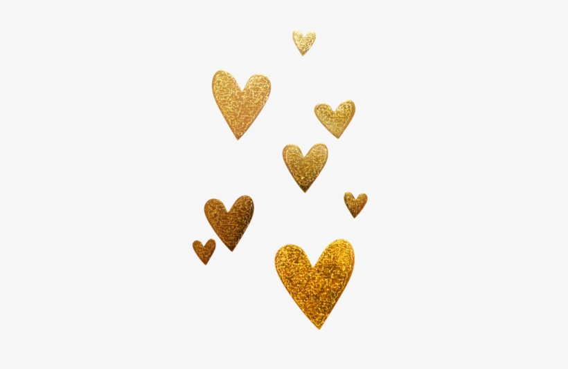 8 Gold Hearts - Gold Glitter Heart Png, transparent png #1229248