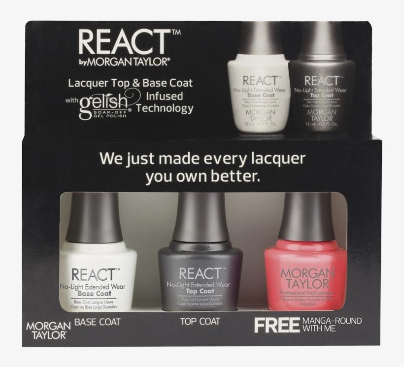 Nail Polish Png Reaction - Morgan Taylor React Lacquer Top & Base Coat Kit, transparent png #1235160