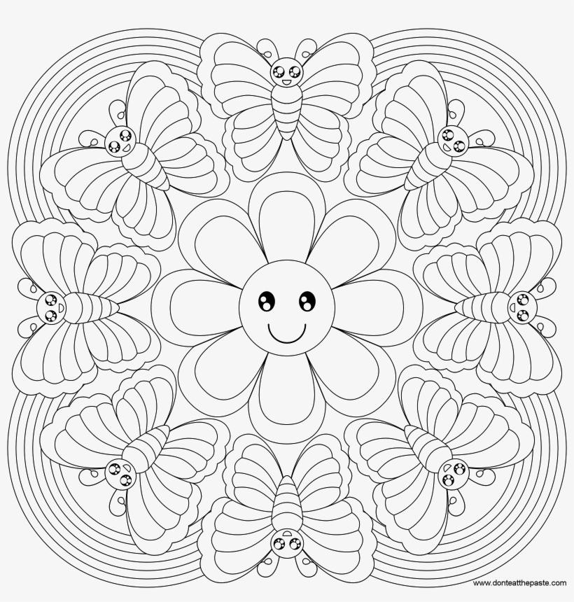 Butterfly Rainbow Mandala To Color Mandalas De Primavera Para
