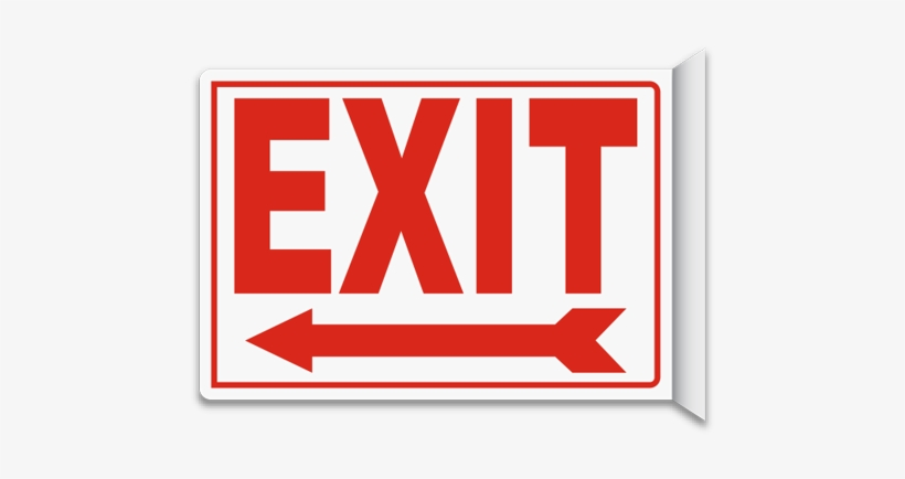 Exit 2-way Sign - Emergency Exit Sign Board, transparent png #1246197