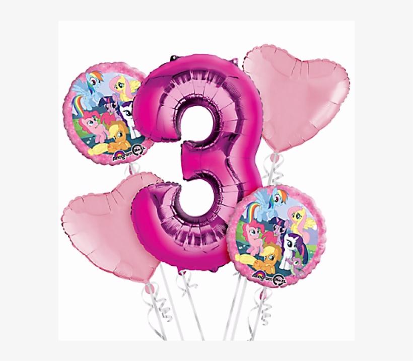 My Little Pony 3rd Birthday Balloon Bouquet 5pc Free Transparent