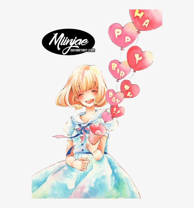 Happy Birthday By Miinjae On Deviantart Anime Girls, - Render Happy Birthday, transparent png #1248394
