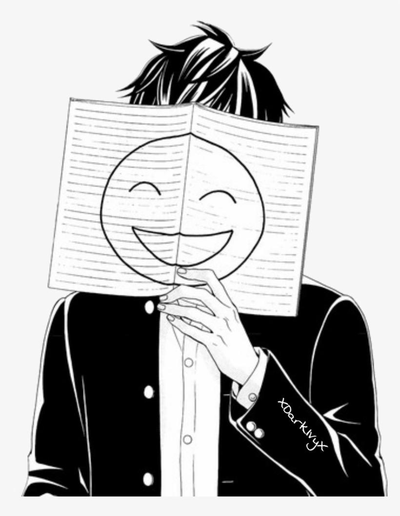 Depressed drawing anime sad fake smile boy