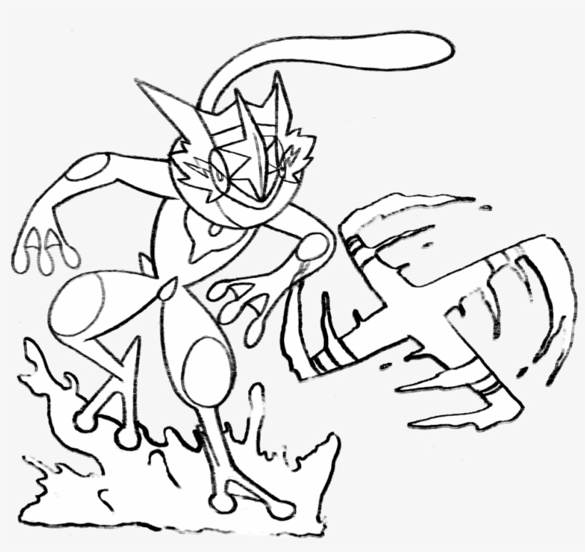 Pokemon Ash Greninja Coloring Pages Ash Greninja Line Art Free