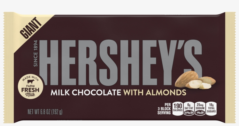 Hershey's, Giant Milk Chocolate With Almonds Candy - Hershey With Almonds, transparent png #1255564