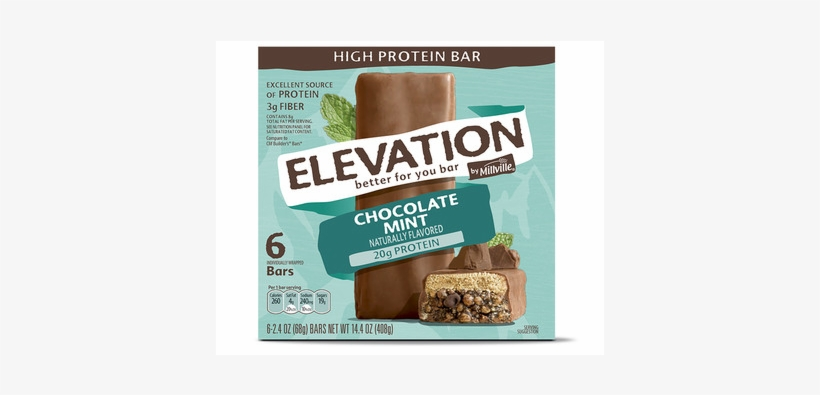 Aldi-exclusive Elevation By Millville High Protein - Elevation Chocolate Mint Protein Bar Nutrition Label, transparent png #1255585
