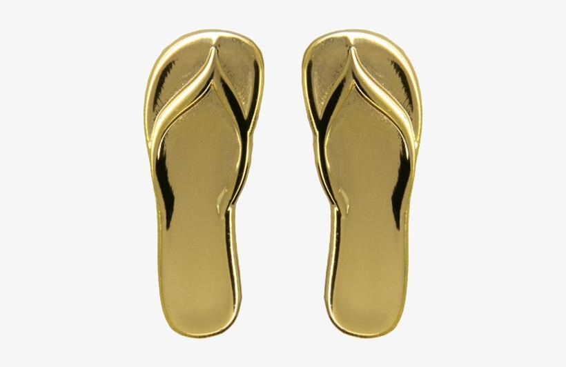 Flip Flop Slippers Pins, Gold Shine - Flip-flops, transparent png #1258909