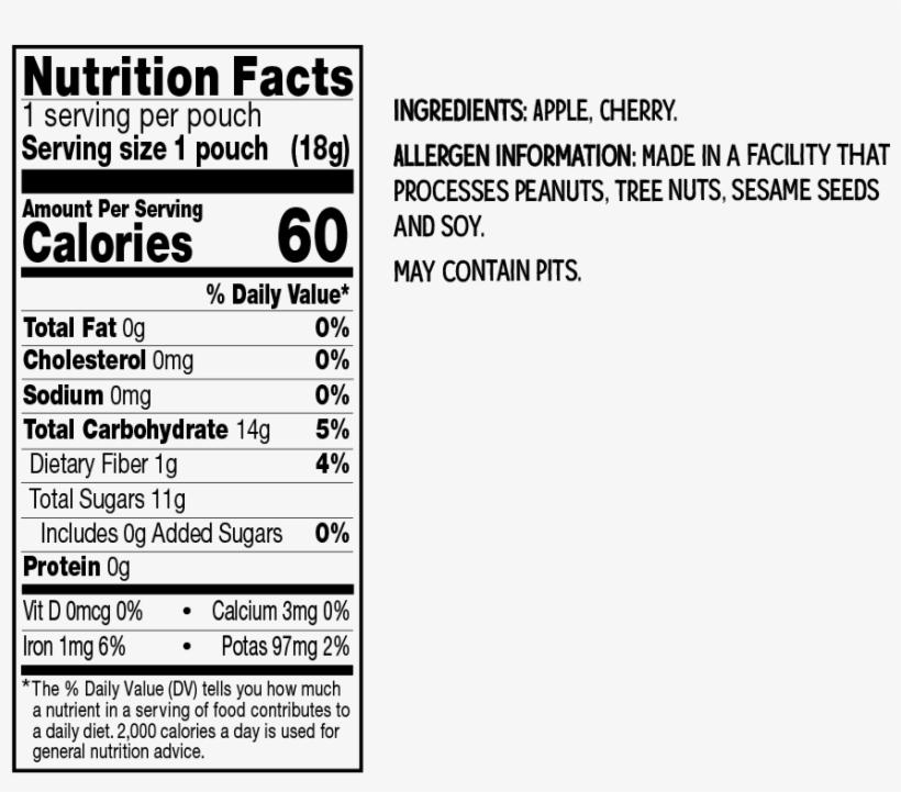 Cherry Apple - Kind Fruit Bites Nutrition Labels, transparent png #1265994
