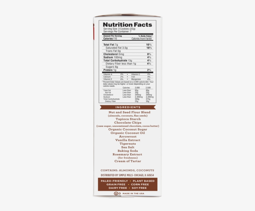 Simple Mills Chocolate Chips Nutrition Facts, transparent png #1266722
