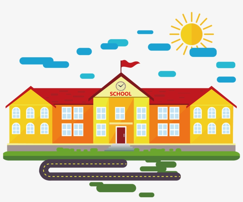 School Cartoon Classroom - School Building Vector Png, transparent png #1267000