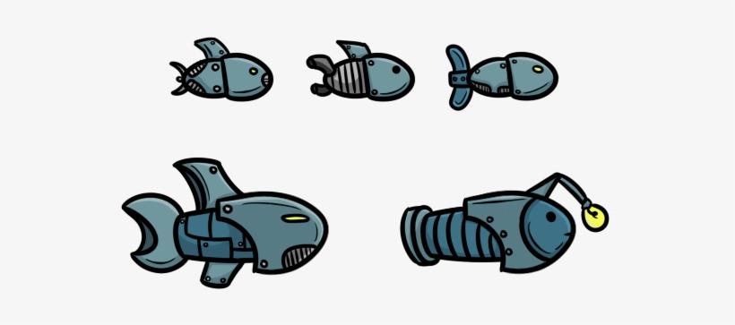 Robotic Fish Design - Robot Fish Drawing, transparent png #1267048