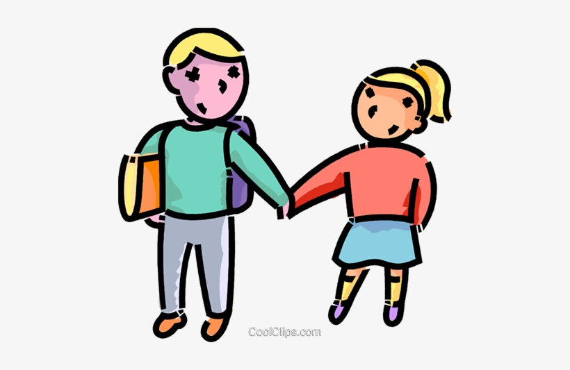 Brother An Sister On The Way To School Royalty Free - Brother And Sister Png, transparent png #1267885