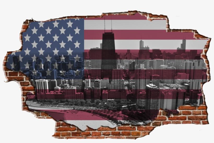 "Zapwalls Decals Breaking American Overlay Chicago - New York Brooklyn Bridge Skyline Brick (51"" X 30""), transparent png #1272422"