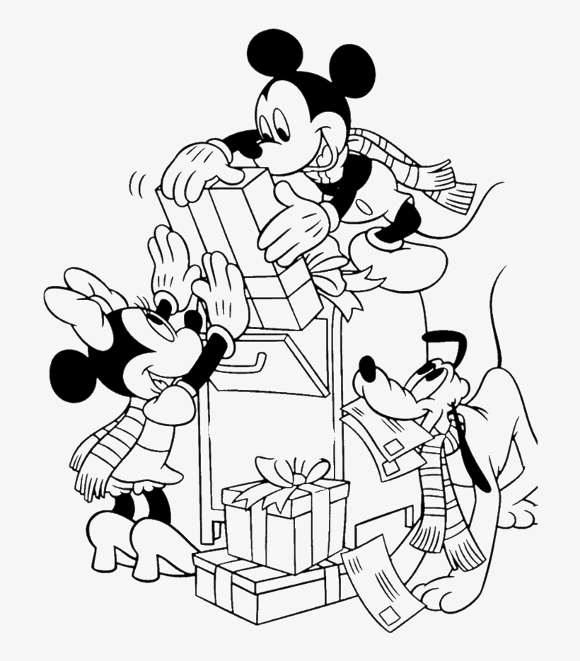 Mickey Mouse Happy Christmas Coloring For Kids - Mickey And Friends Christmas Coloring Pages, transparent png #1274381
