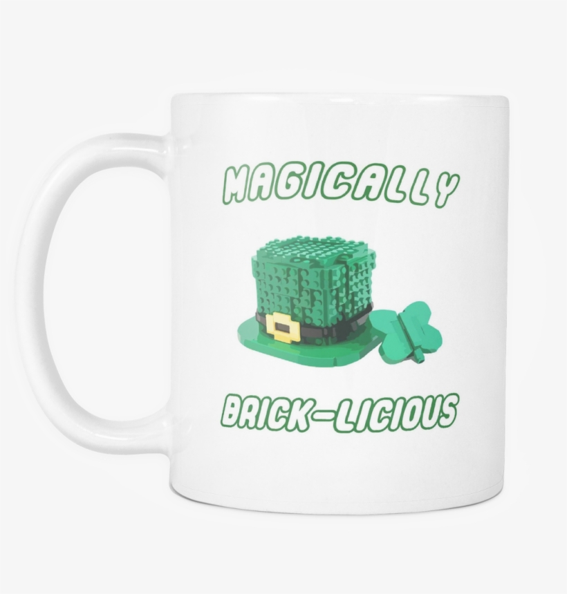 Magically Brick-licious Toy Brick Leprechaun Hat 11 - Black Ceramic Coffee Mug, transparent png #1274796