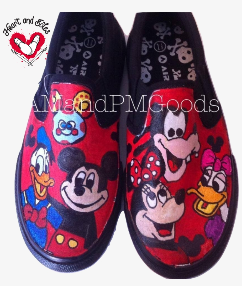 Mickey Mouse Clubhouse Hand Painted Shoes - Mickey Mouse Clubhouse, transparent png #1275183