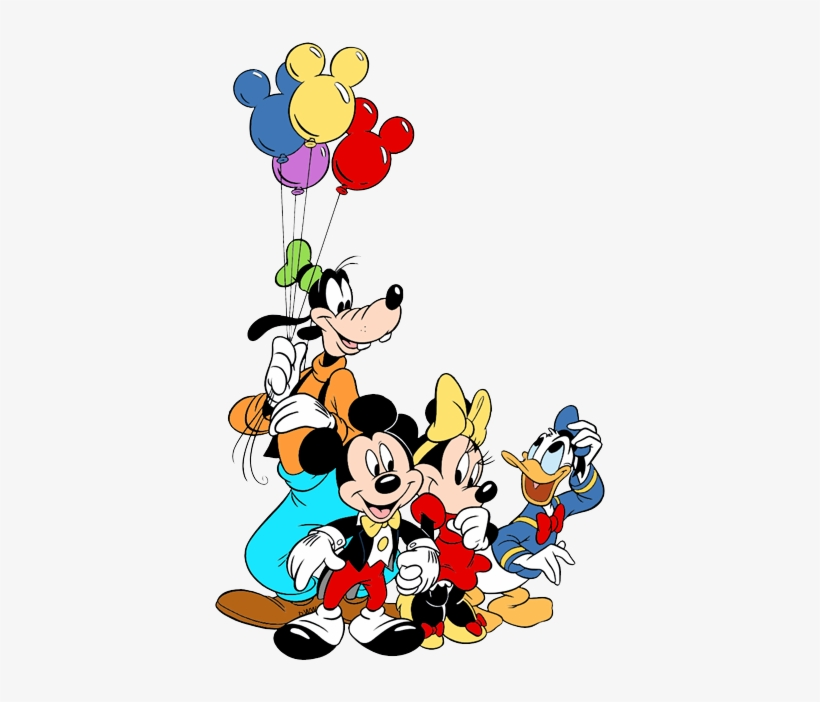Mickey, Minnie, Donald, Goofy With Ears Balloons - Disney Coloring Pages, transparent png #1275383