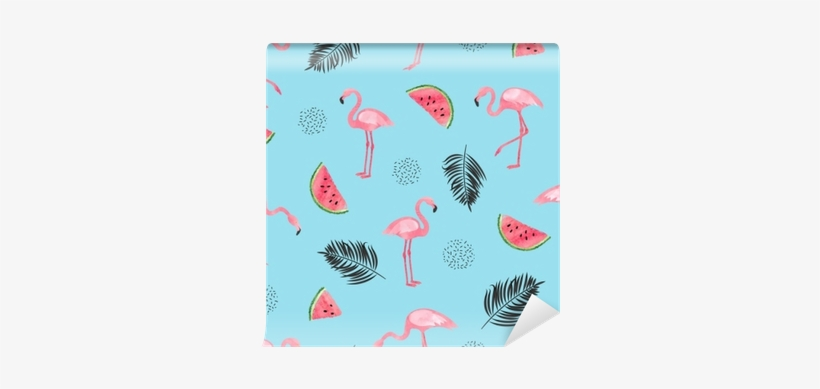 Seamless Tropical Trendy Pattern With Watercolor Flamingos, - Pattern Background Flamingo Tropical, transparent png #1279573