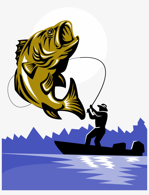 Bass Fishing Fishing Rod Fly Fishing - Largemouth Bass Fish And Fly Fisherman, transparent png #1282585