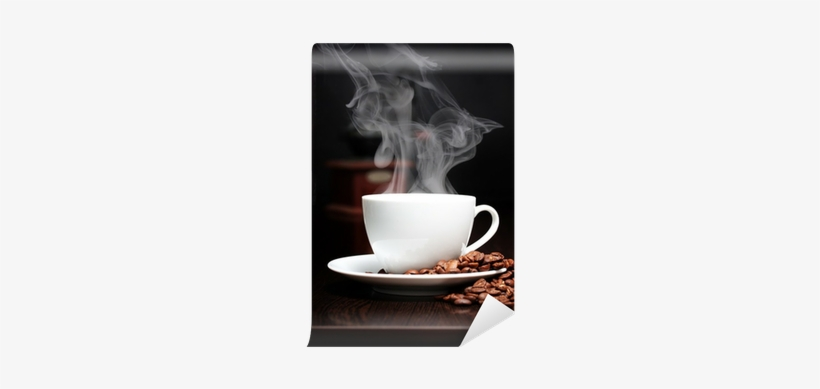 Coffee Cup With Smoke, Grinder And Grain Against Black - Humo De Cafe, transparent png #1283834