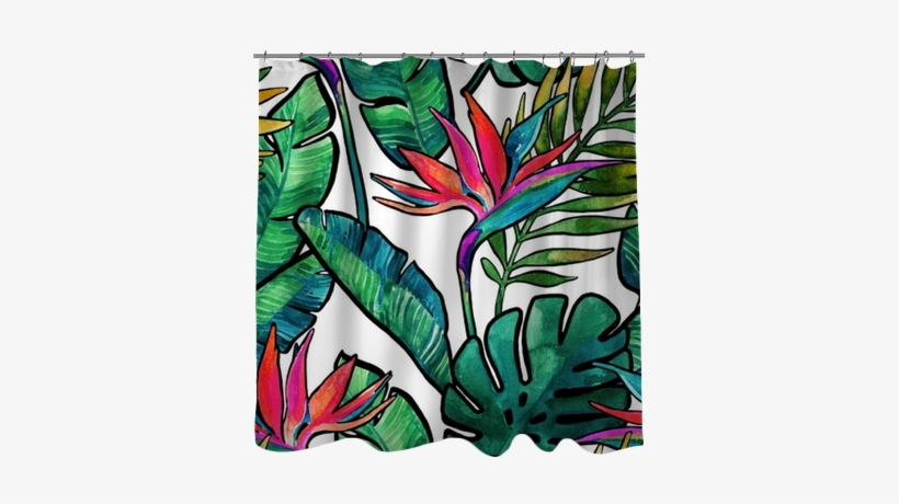 Watercolor Tropical Leaves And Flowers With Contour - Watercolor Painting, transparent png #1285366