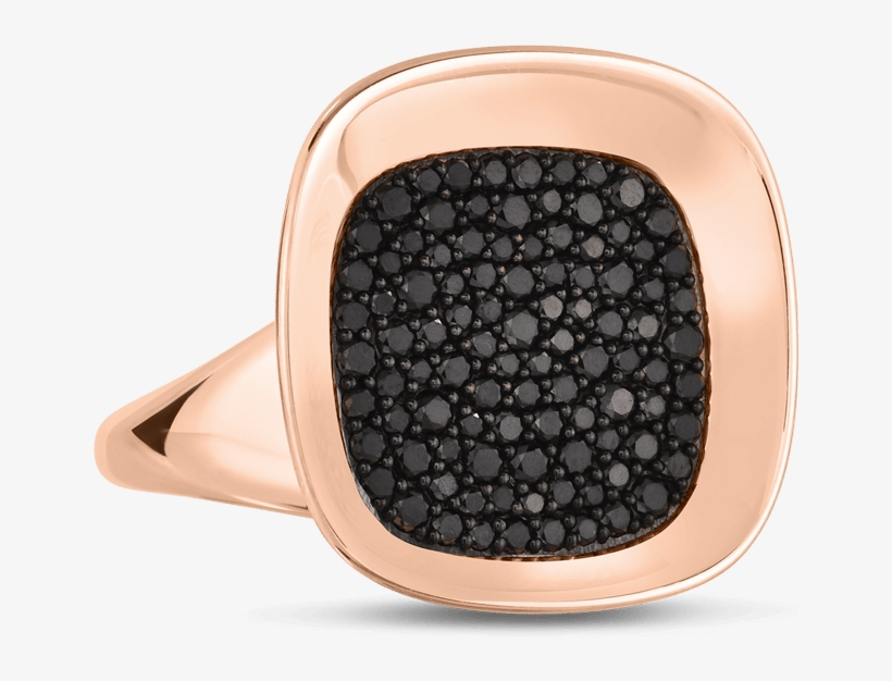 Roberto Coin 18k Rose Gold Small Ring With Black Diamonds - Small Black Diamond Jewelry, transparent png #1289455