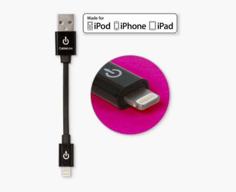 """Cablelinx 4"""" Apple Certified Mfi Lightning To Usb-a - Rnd Accessories Apple Certified 30-pin Cable, transparent png #1289944"""