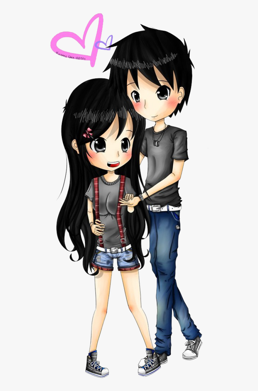 Anime Love Couple Png Transparent Image - Girl And Boy In Love Anime, transparent png #1295319