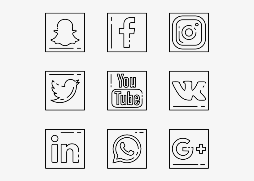 4 Social Media Outline Icon Packs - Social Media Icon Outline, transparent png #1296669