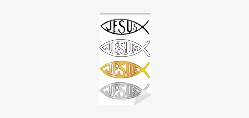 White, Black, Silver And Gold Christian Fish Wall Mural - Ichthys, transparent png #1297833