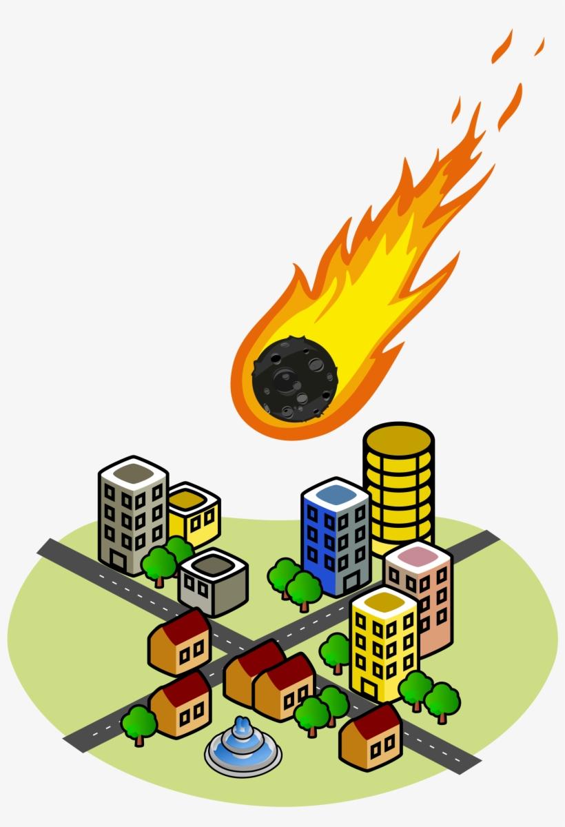 Fireball Clipart Asteroid - Office Building Clip Art, transparent png #1298159