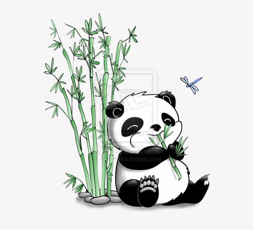 Panda Eating Bamboo By Artshell Panda Bear With Bamboo