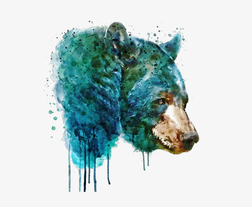 Bleed Area May Not Be Visible - Bear Head Watercolor, transparent png #130366