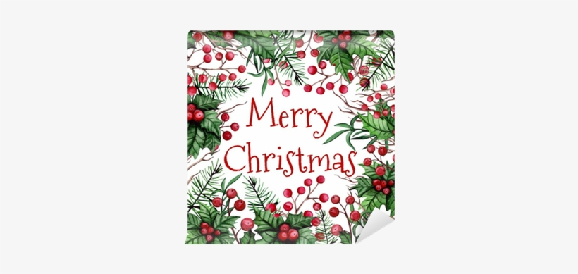 Christmas Card With Watercolor Holly, Berries And Pine - 12 Days Of Christmas By Make Believe Ideas, transparent png #130435