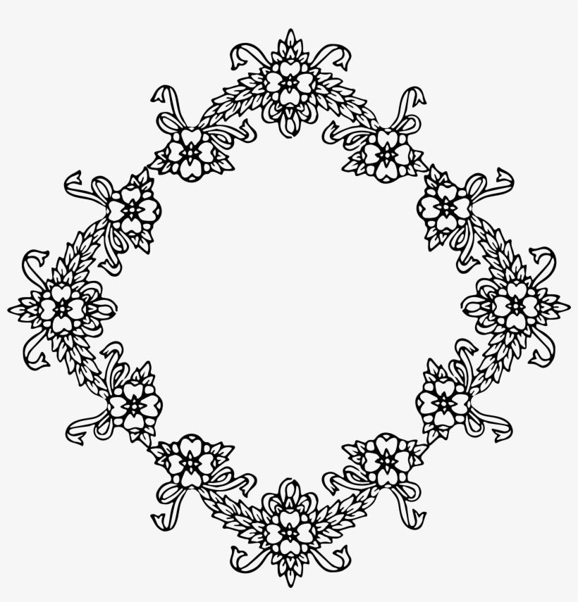 Diamond Clipart Frame - Vintage Floral Vector Frame Border Png, transparent png #131352